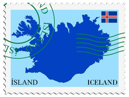 Stamp with Map and Flag of Iceland-Perysty-Art Print
