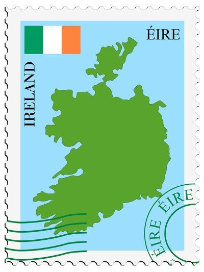 Stamp with Map and Flag of Ireland-Perysty-Art Print
