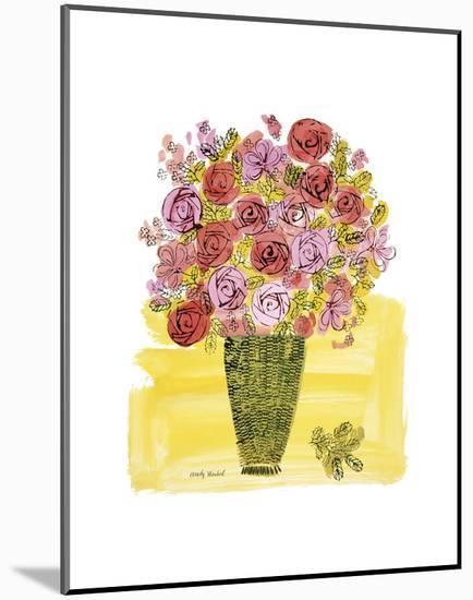 (Stamped) Basket of Flowers, 1958-Andy Warhol-Mounted Art Print