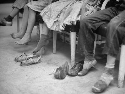 Stamping their Feet, Children from the Avondale Camp Wait to Be Fitted with Free Shoes-Ed Clark-Photographic Print