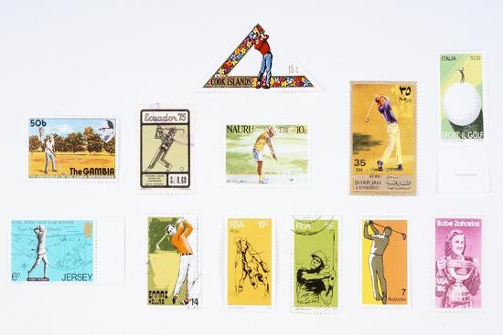 Stamps from various countries, with golfing theme, 20th century-Unknown-Giclee Print