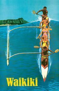 United Air Lines - Waikiki - Outrigger Canoe Surfing by Stan Galli