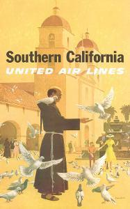 United Airlines Southern California, Spanish Mission, 1960s by Stan Galli