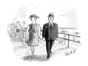 Man and wife handcuffed together. - New Yorker Cartoon by Stan Hunt