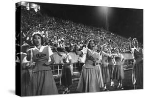 Cheer Leaders at Little Rock High School Game with Louisiana High School Team by Stan Wayman