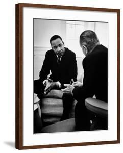 Civil Rights Leader Dr Martin Luther King with Pres. Lyndon Johnson During Visit to the White House by Stan Wayman
