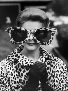 Model June Pickney Sporting Leopard Fur Coat and Huge Leopard Fur Rimmed Sunglasses by Stan Wayman