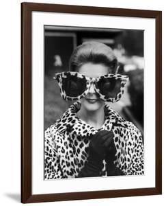 Model June Pickney Sporting Leopard Fur Coat and Huge Leopard Fur Rimmed Sunglasses by Stan Wayman