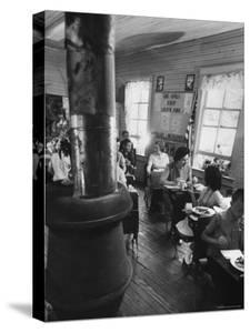 Mrs. Lyndon B. Johnson Eating Lunch with School Kids by Stan Wayman