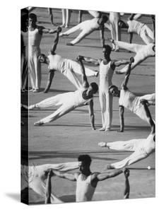 """Participants in a Mammoth Sport and Fitness Show Called """"Sportakiad"""" Practice by Stan Wayman"""