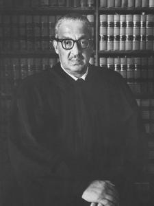 Portrait of US Supreme Court Justice Thurgood Marshall in His Chambers by Stan Wayman