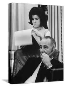 President Lyndon B. Johnson with Daughter Lucy Baines Johnson in White House by Stan Wayman