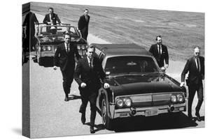 Secret Service Agents in Training Running with Motorcade, Washington DC, 1968 by Stan Wayman