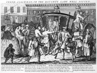 Stand Coachman or the Haughty Lady Well Fitted, Published by J. Wakelin, 1750--Giclee Print
