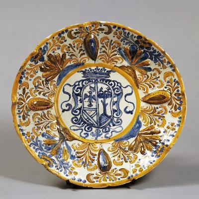 Stand Decorated with Coat of Arms, Ceramic, Laterza Manufacture, Puglia, Italy--Giclee Print