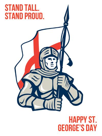 Stand Tall Proud English Happy St George Greeting Card-patrimonio-Art Print