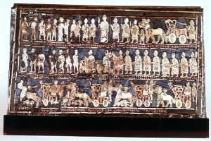 Standard of Ur, the War Side, from the Royal Cemetery at Ur, Sumerian, C2500 Bc
