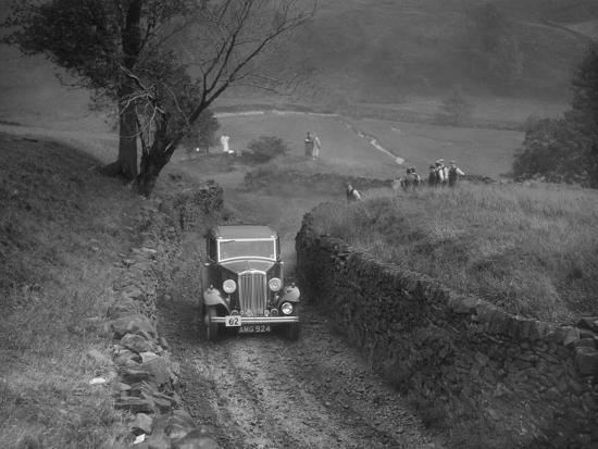 Standard saloon of HSR Payne competing in the MCC Sporting Trial, 1935-Bill Brunell-Photographic Print