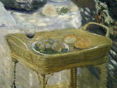Standing Basket with Fruit, Bread and Glass of Wine, from Le Déjeuner, Lunch, C. 1873-74, Detail-Claude Monet-Giclee Print