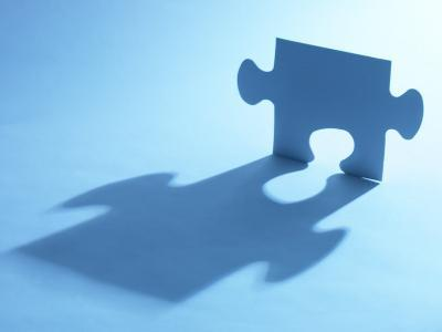 Standing Blue Puzzle Piece with Shadow in Blue Light--Photographic Print