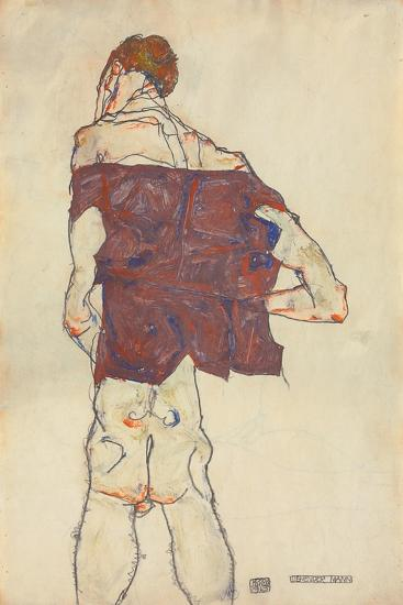 Standing Man, 1913 (Gouache, W/C and Pencil on Paper) (Recto of 996379)-Egon Schiele-Giclee Print