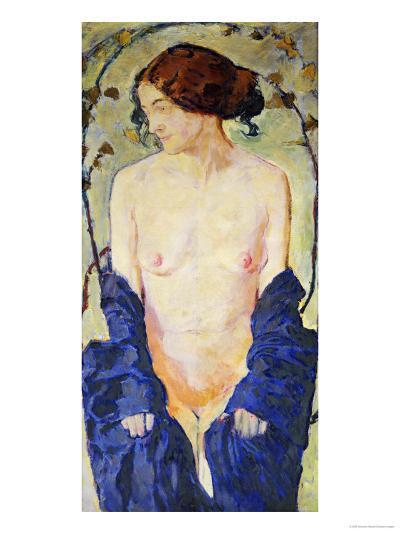 Standing Nude with Blue Robe, circa 1900-Kolomon Moser-Giclee Print
