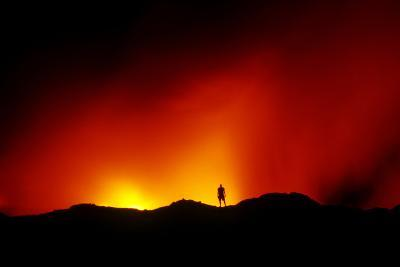 Standing on the Crust of an Active Lava Flow, Watching Lava Flow into the Pacific, Kilauea Volcano-Cagan Sekercioglu-Photographic Print