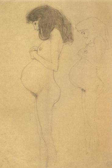 Standing Pregnant Woman in Profle-Gustav Klimt-Giclee Print
