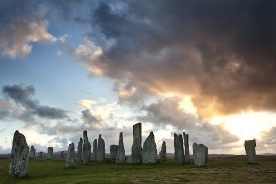 Standing Stones of Callanish at Sunset with Dramatic Sky in the Background-Lee Frost-Photographic Print