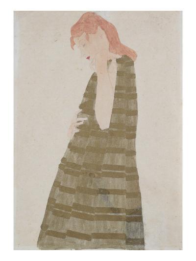 Standing Woman in a Golden Dress-Egon Schiele-Giclee Print