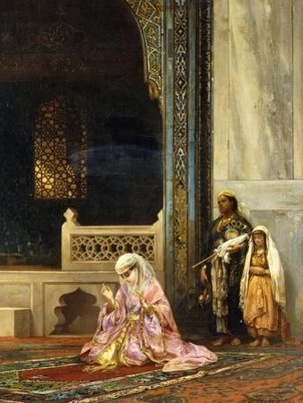 A Turkish Lady Praying in the Green Mosque, Bursa by Stanislaus Chlebowski