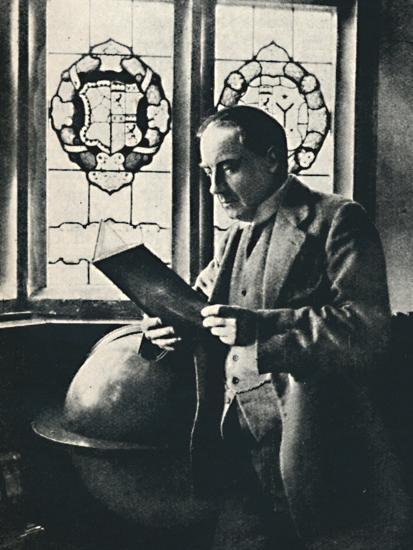 'Stanley Baldwin in the Gallery at Chequers', c1925-Unknown-Photographic Print