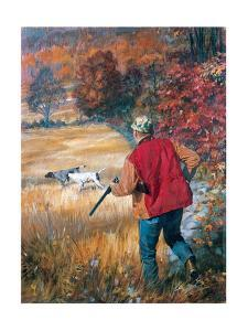 Autumn Hunters: with His Dogs, an Upland Hunter Readies His Shotgun Amid Fall Foliage by Stanley Meltzoff