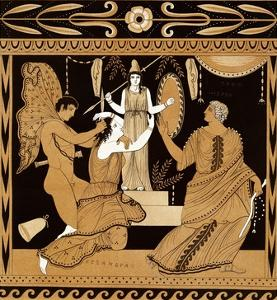 19th Century Greek Vase Illustration of Cassandra with Apollo and Minerva by Stapleton Collection