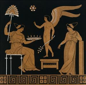 19th Century Greek Vase Illustration of Eros with Two Courtesans by Stapleton Collection