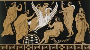 19th Century Greek Vase Illustration of Zeus Abducting Leda in the form of a Swan by Stapleton Collection