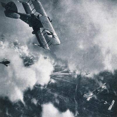 Aerial Combat on the Western Front, WWI Photogravure by Stapleton Collection