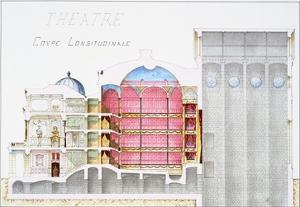 Architectural Drawing of Theatre Building with Cross-Sectional View by H. Monnot by Stapleton Collection