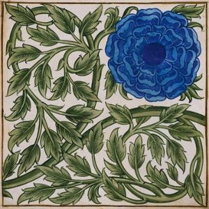 Blue Flower Watercolor Tile Design by William de Morgan by Stapleton Collection