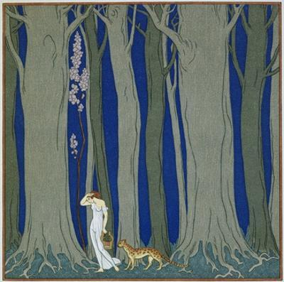 Book Illustration of a Woman and a Leopard in the Forest by Georges Barbier