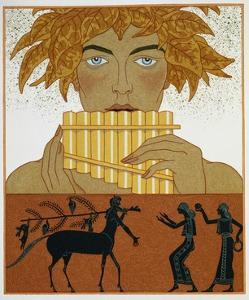 Book Illustration of a Woman Playing Panpipes and a Centaur Greeting Two Women by Georges Barbier by Stapleton Collection