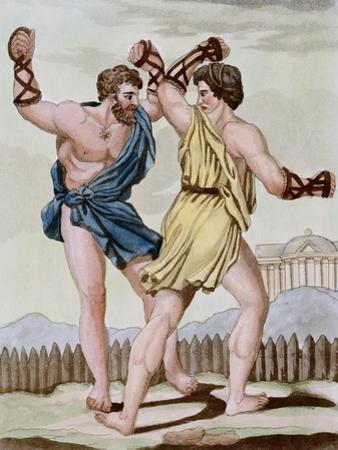 Color Print from Engraving Showing Gladiators Boxing by Jacques Grasset de Saint-Sauveur and L.F. L
