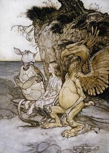 Illustration of Alice Sitting Down Next to Two Creatures by Arthur Rackham by Stapleton Collection