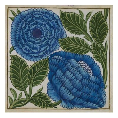 Large Blue Flower Watercolor Tile Design by William de Morgan