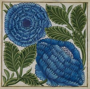 Large Blue Flower Watercolor Tile Design by William de Morgan by Stapleton Collection