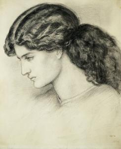Portrait Sketch of a Ladies Head by Dante Gabriel Rossetti by Stapleton Collection