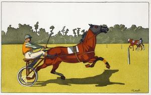 Print of a Trotting Pony Pulling a Racing Cart by Charles Olncelin by Stapleton Collection