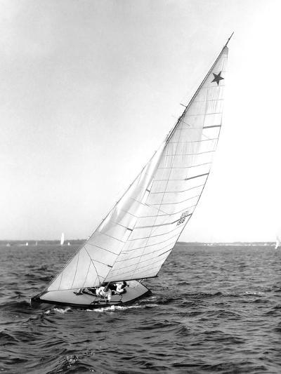 Star Class Boat Sail Number 1518 Heeled to Starboard-Edwin Levick-Photographic Print