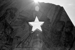Star Cut Into Statue Budapest Hungary