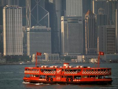 Star Ferry in Hong Kong Harbor, Hong Kong, China-Walter Bibikow-Photographic Print